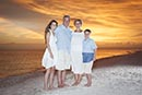vivid sunset with family of 4 at Tigertail Beach