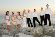 wedding party on South Marco Beach rocks